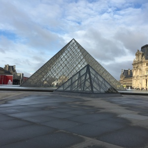 The pyramids outside the Louvre