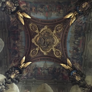 Every square inch of the Louvre has some kind of artwork on it:  the ceilings and the floor.
