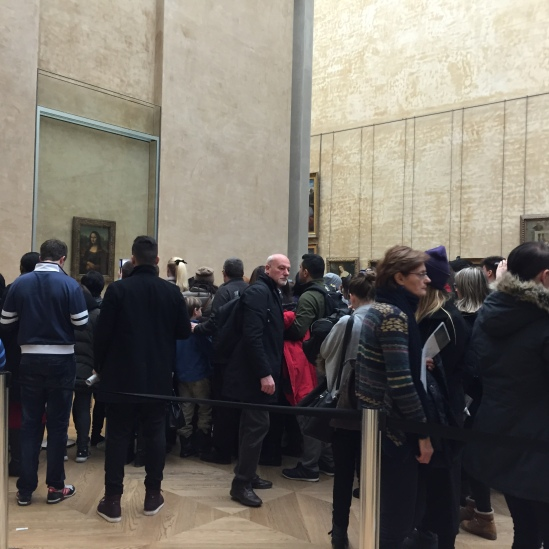 I could not capture the entire horde of people standing around the Mona Lisa.